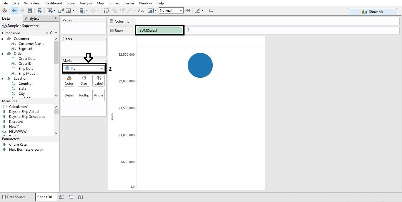 Donut chart in tableau analytics tuts 2nd change it to pie and increase size nvjuhfo Image collections