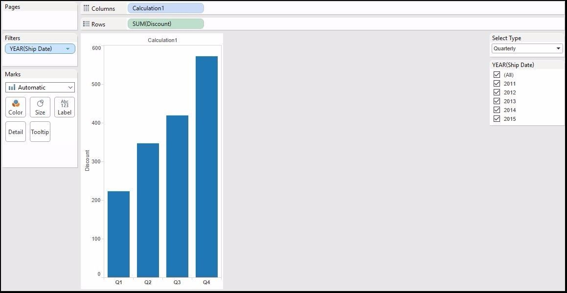 The year over year or month over month viz in single chart in tableau
